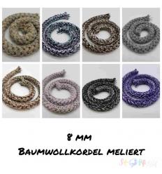 BAUMWOLLKORDEL MELIERT  -8MM- 1M