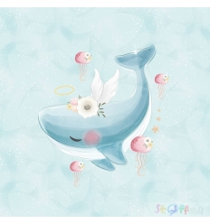 PANEL WHALE WITH FLOWERS 1ST