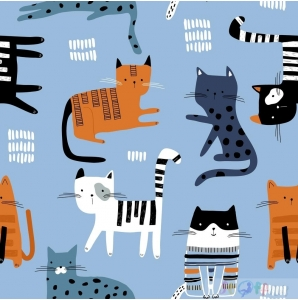 "JERSEY ""PETS"" CATS on blue 0.5M"