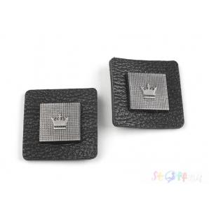 Aufnäher Krone 30x30 mm ( schwarz)